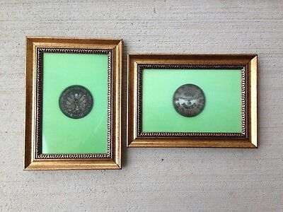 (2) Framed Photos Of Hard Times Token Dated 1837 for C.D. Peacock of Chicago