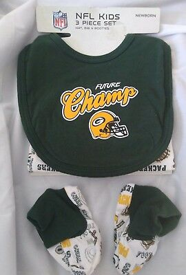 New NFL Green Bay Packers Baby Newborn Bib Hat Booties 3 Pc Set Easter Gift