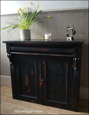 Pretty Vintage Hand Painted Black Antique Sideboard