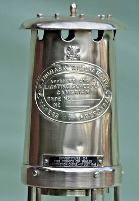 """1969 Investiture of Prince Wales Thomas and Williams Ltd Large 10"""" Miners Lamp"""