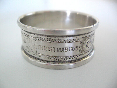 Decorated ornate English sterling silver napkin ring engraved CHRISTMAS 1978