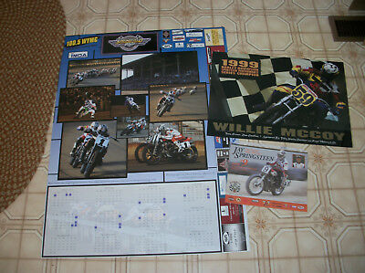 3 harley picture posters dirt track motorcycle racing springfield mile