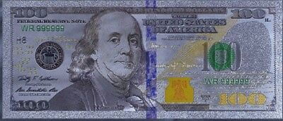 Gold Foil Banknote Usa $100 Shining Silvered Paper Money Banknotes Craft