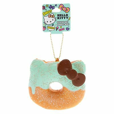 Hello Kitty Half Mint Donut Girl's Squishy Keychain Charm Gold Chain One Size