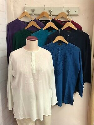 Chic Soul Indian Cotton Cheesecloth Kurta Kaftan Top with Long Sleeves