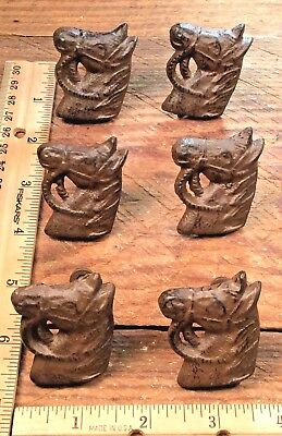 6 Horse Head Drawer Knobs Door Pulls Handles Rustic cast iron Hangers Western