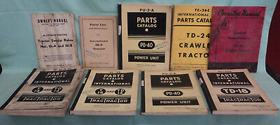 Vintage Lot of 9 International Harvester Operator's Parts Manuals Rake, ID-9 PD-