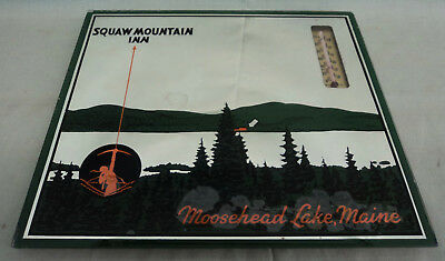 Vintage Art Deco Early Squaw Mountain Inn Mirror Thermometer (works) Moosehead L