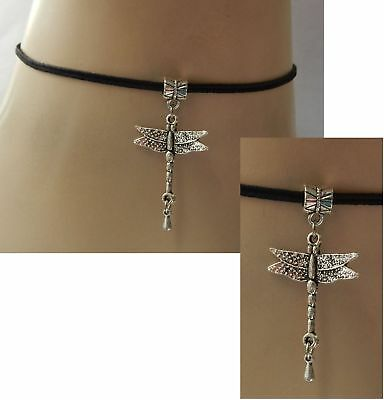 Silver Dragonfly Pendant Choker Necklace Handmade Adjustable NEW Accessories