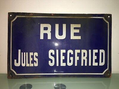 Authentic French Antique Paris Enamel Street Sign Pere Lachaise Cemetery