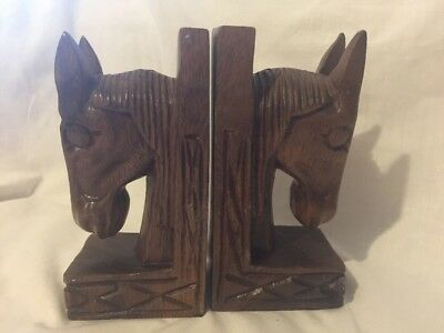 A Pair Of Vintage Retro  HORSE HEAD BOOKENDS WOODEN