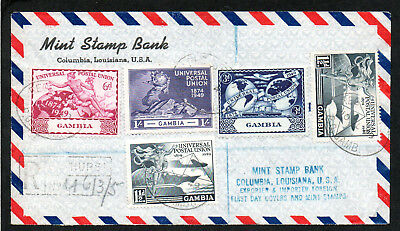 1949 UPU Set GAMBIA  on Registered Airmail Cover to USA