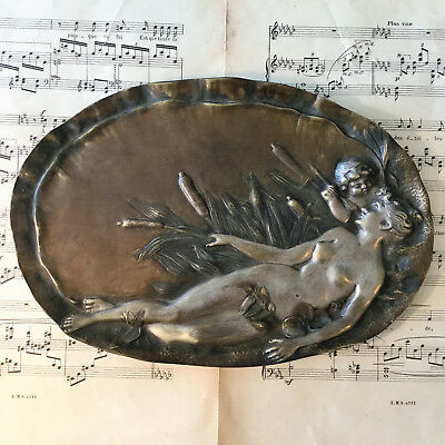 Large Antique French Art Nouveau Bronze Tray Woman Angel Cattails 1880