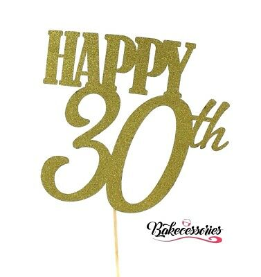 LARGE Gold - Happy 30th Birthday 30 Years Cake Topper Party Glitter Sparkle Bday