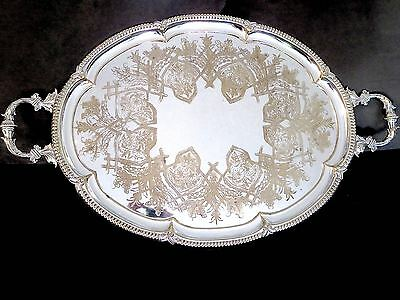 Antique SUPERB QUALITY Xtra Large SILVERPLATE SERVING TRAY Ornate Engaving 31""