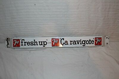 "Vintage 1950's 7Up 7 Up Soda Pop 32"" Porcelain Metal Door Push Bar Sign"