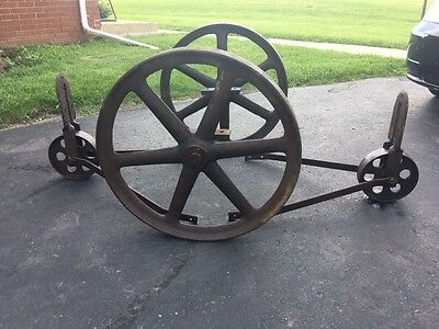 Vintage Old Industrial Antique Factory Cart Coffee Table Cast Iron Metal Wheels