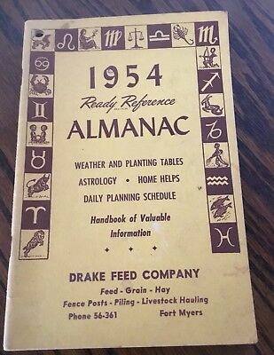 Vintage 1954 Drake Feed Company Fort Myers Ready Reference Almanac. Must See!