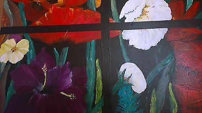 "Acrylic,painting ""framed flowers"",Original signed,Terry Lash 16X20"