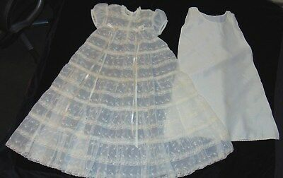 Vintage Baby Clothes Lace Christening Gown Dress Slip Floral Embroidery Infant