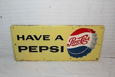 "Vintage 1950's Pepsi Cola Soda Pop Bottle Cap Gas Station 20"" Metal Sign"