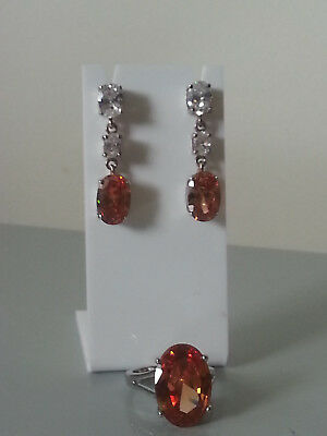 Sterling Silver Zirconia Earrings With Rhodium Plated Ring