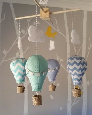 Hot Air Balloon room decor mobile in Baby blue, Mint, Aqua