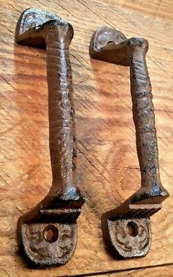 2 Door Barn Cast Iron Gate Pull Shed Handle Rustic Antique Style Handles 5-3/8""