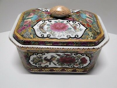 Vintage Chinese Hand Painted Rose Medallion Covered Dish Or Box-Vibrant Colors!