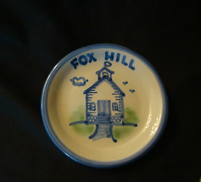 M.A. Hadley Fox Hill Hand Painted Blue Small Pottery Dish
