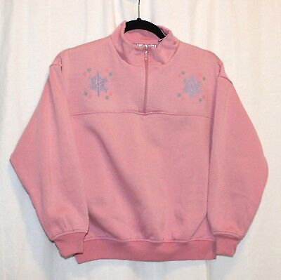 vintage women's sweatshirt • pink embroidered snowflake • zipper • petite size S