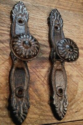 2 Knob Handles RUSTIC cast iron antique style Barn Gate Pulls Drawer Door 6-1/4