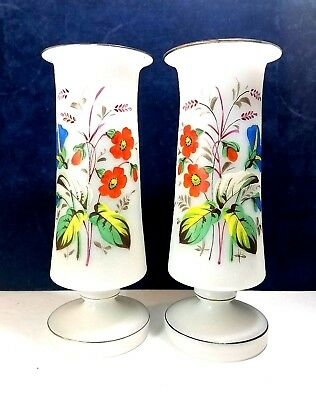 Antique Pair Hand Blown Frosted Bristol Glass Vase Hand Painted Enameled Flower