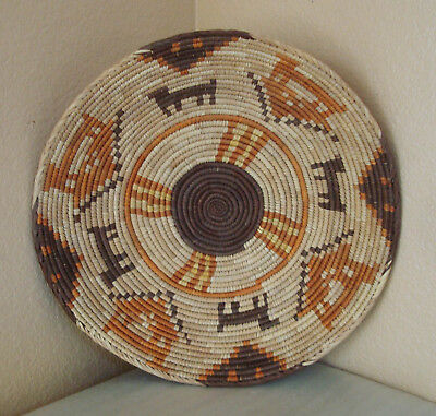 """Vintage Hand Woven Native Tribal African Figural Coiled Basket Bowl 14""""large"""