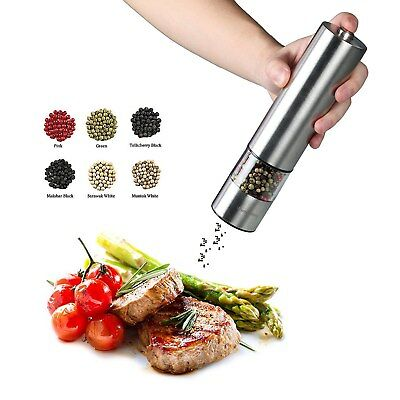 Stainless Steel Electric Pepper Grinder Salt Grinder Mill Battery Operated New