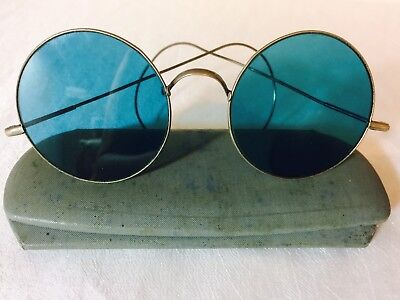 Antique Silver Tone LARGE Round Lens WILLSON BLUE Tinted Eyeglasses w/ Case
