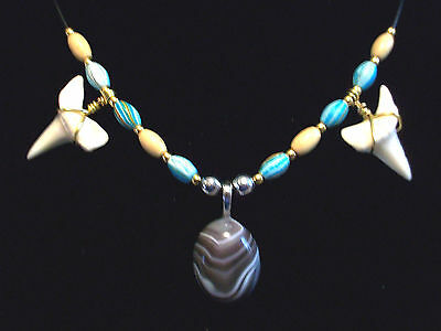 """Real 1 1/16"""" Mako Shark Teeth Necklace With Agate Gemstone Pendant On Sale Now"""