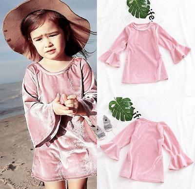 Toddler Kids Baby Girls Long Sleeve Velvet Clothes Princess Party Pageant Dress