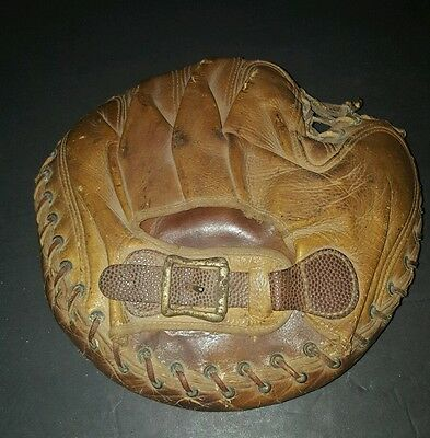 Vintage Leather Catchers Mitt with Embossed  Buckle Baseball Glove