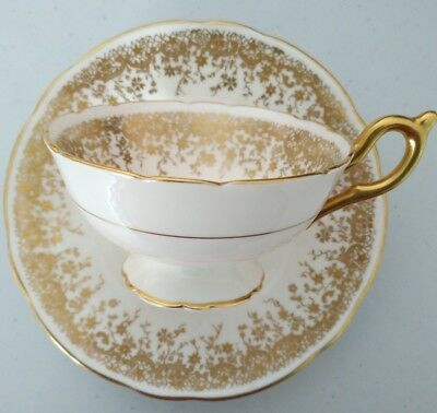 Coalport White with Gold Gilded Teacup and Saucer