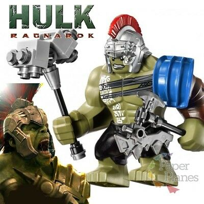 Incredible Hulk with Hammer & Axe Minifigur Passt Lego Marvel Thor Ragnarok 0281