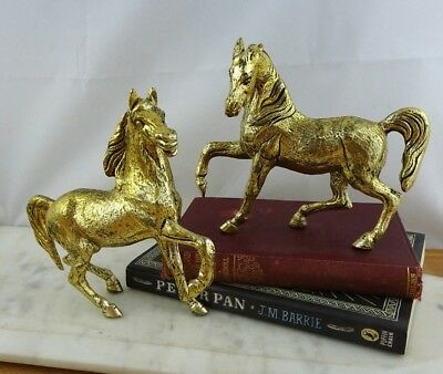 Pair of Vintage Brass Horse Figurines, Mid Century Equestrian Decor
