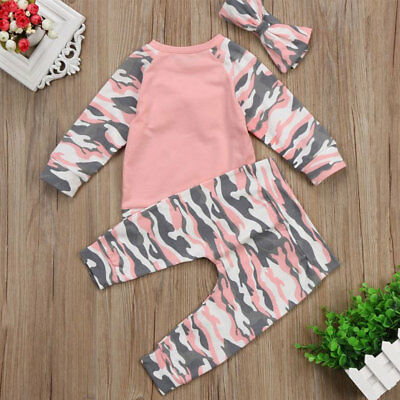 UK Stock Newborn Baby Girl Boy Romper Top Long Pants Headband Clothes Set Outfit