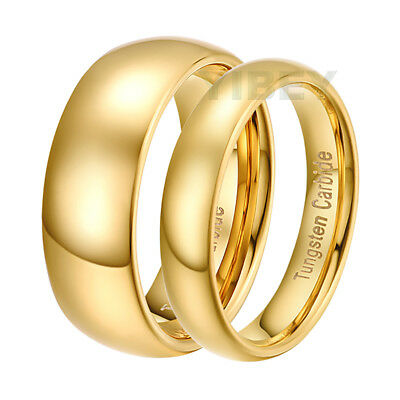 Tungsten Simple Couple Rings Polished Gold Domed Token vows Lovers Wedding Band