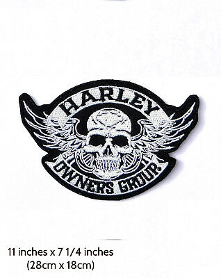 Patch Harley HOG Skull ( bikers back emblem ) XL
