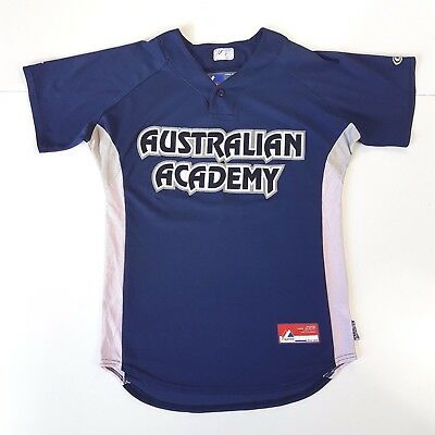 Majestic sz M Mens Solid Blue 'Australian Academy 82' Patched Baseball Jersey