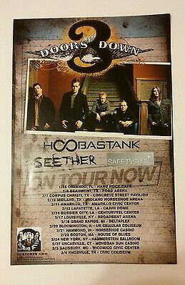 3 DOORS DOWN THREE HOOBASTANK SEETHER TOUR DBL SIDED PHOTO 11x17 MUSIC POSTER