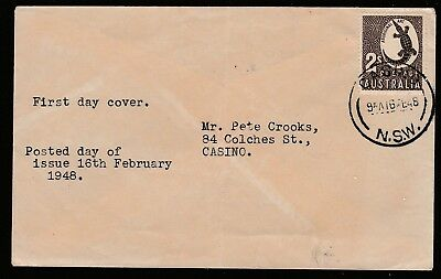 1948 Zoolocical Series 2/- Pre-Decimal Stamp Unofficial First Day Cover #48.1