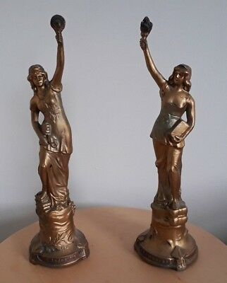 Pair of Spelter Figurines Titled Le Commerce &  L'Industrie.