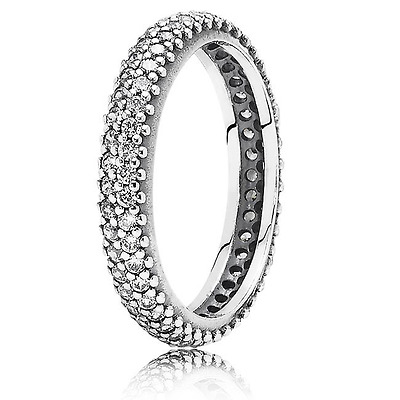 New Pandora Rounded Silver &  Zirconia Eternity Pave Ring  - Size 54 - #190909Cz